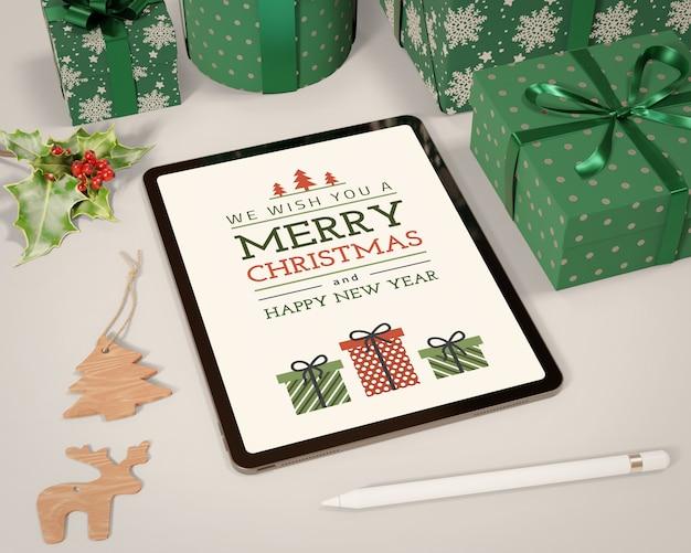 Tablette et ensemble de maquette de collection de cadeaux