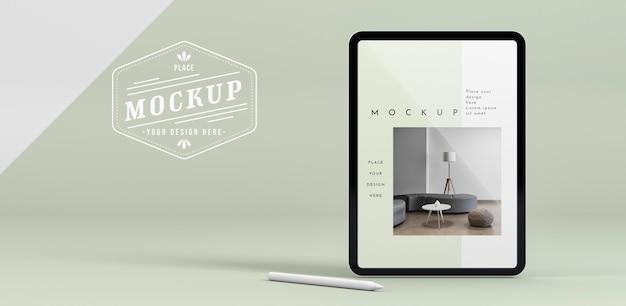 Tablette moderne avec maquette d'écran
