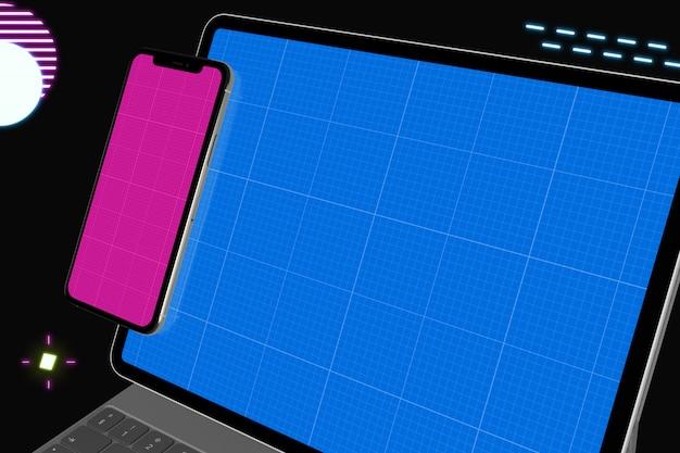 Tablette néon et maquette mobile