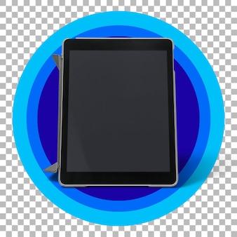 Tablette noire sur fond transparent