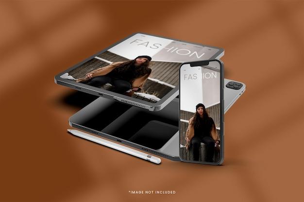 Tablette numérique avec conception de maquette de smartphone