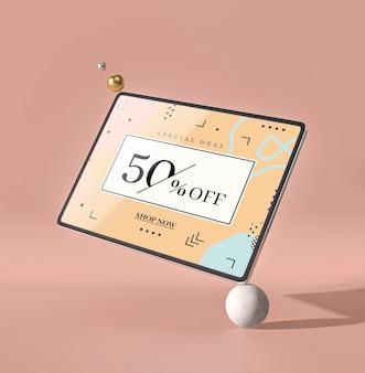 Tablette numérique maquette 3d debout dans une boule blanche