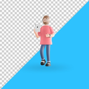Tablette de tenue de personnage 3d premium psd