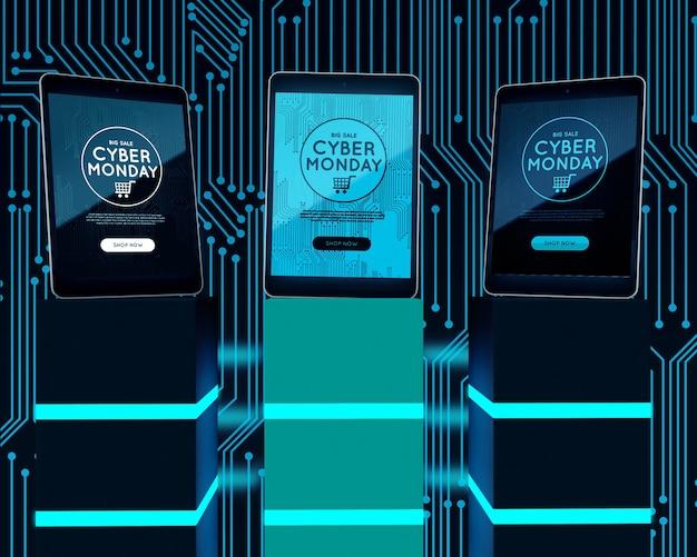 Tablettes de haute technologie sur des cubes de néon