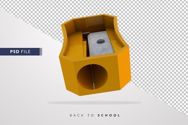 Taille-crayon jaune 3d un instrument pour les étudiants de retour à l'école