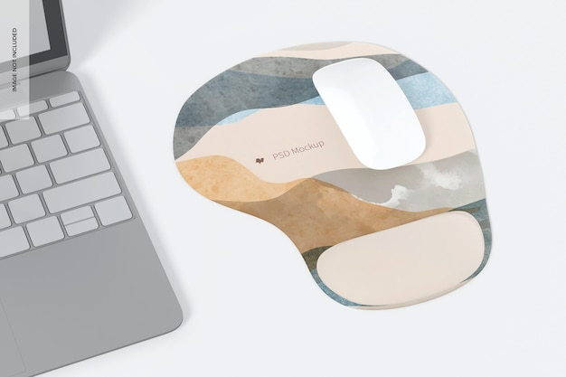 Tapis de souris avec maquette en gel, perspective