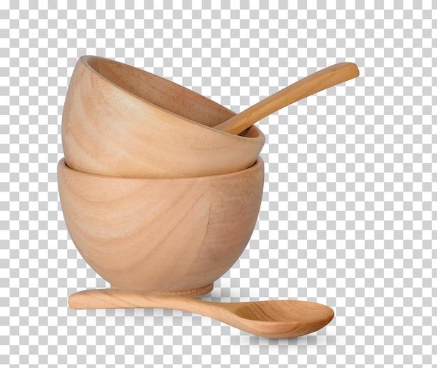 Tasse en bois et cuillères en bois isolées