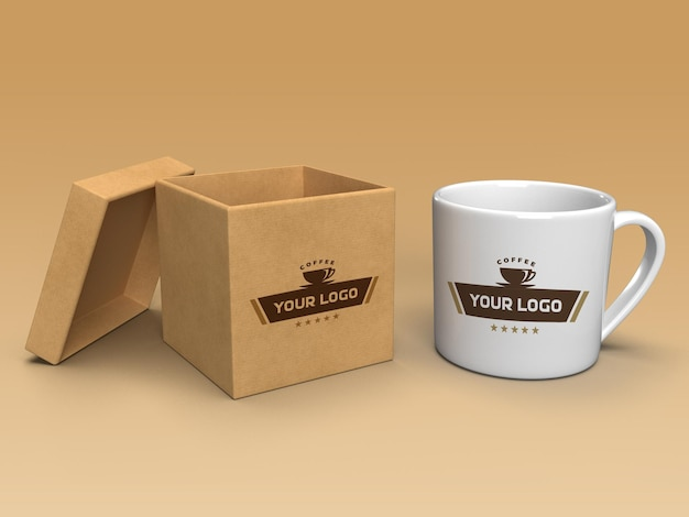 Tasse à café et conception de maquette de boîte