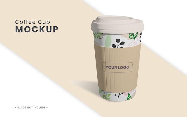Tasse à café avec maquette en papier isolé
