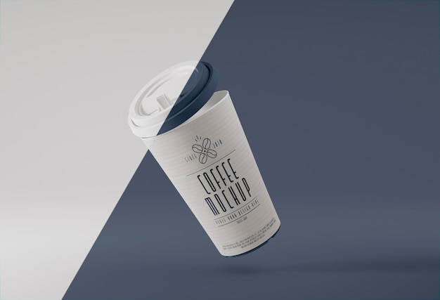 Tasse à café en papier en lévitation