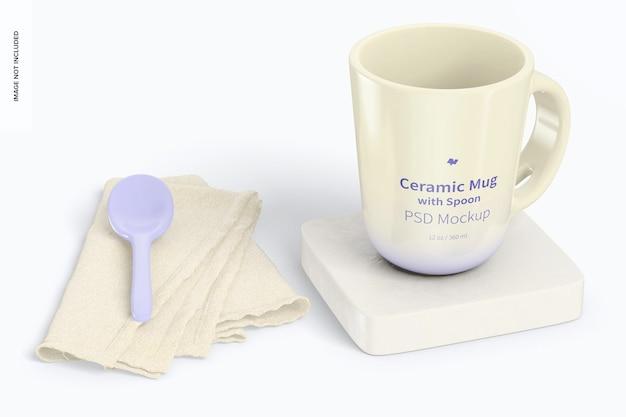 Tasse en céramique de 12 oz avec maquette de cuillère