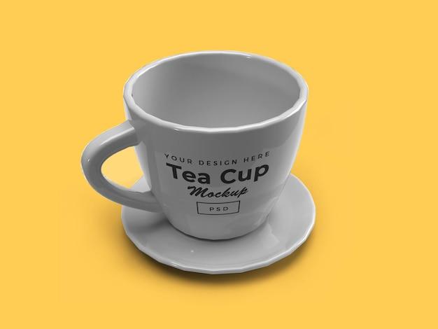 Tasse à thé sur la conception isolée de maquette 3d de plaque