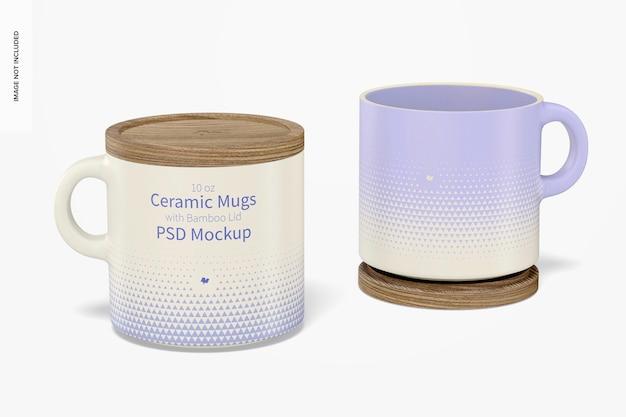 Tasses en céramique de 10 oz avec maquette de couvercle en bambou