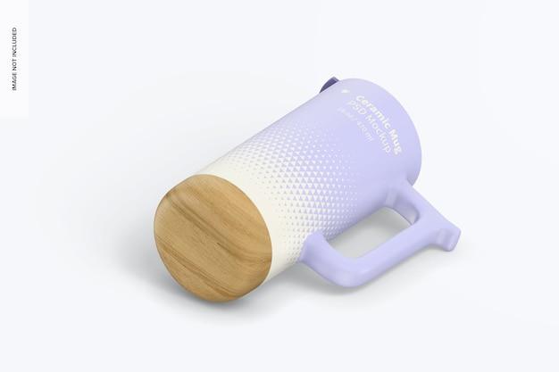 Tasses en céramique de 16 oz avec maquette à base de bois, vue isométrique