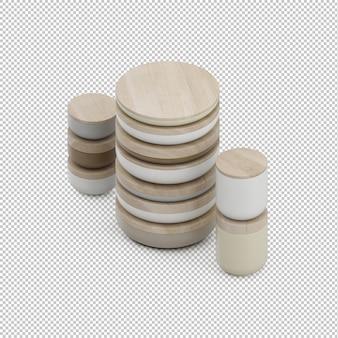 Tasses de cuisine isométriques