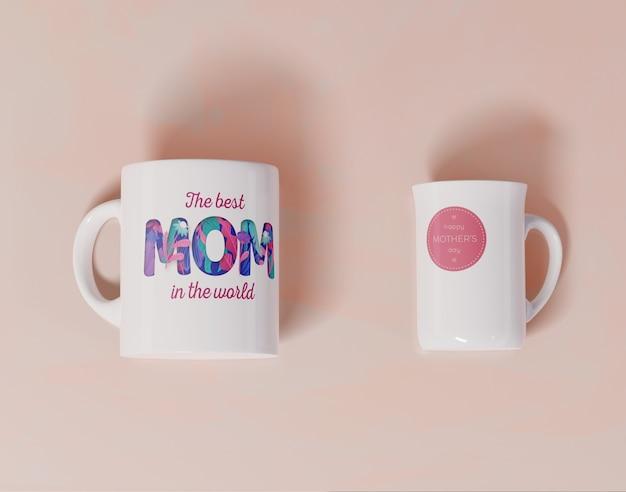 Tasses de jour de mères de gros plan