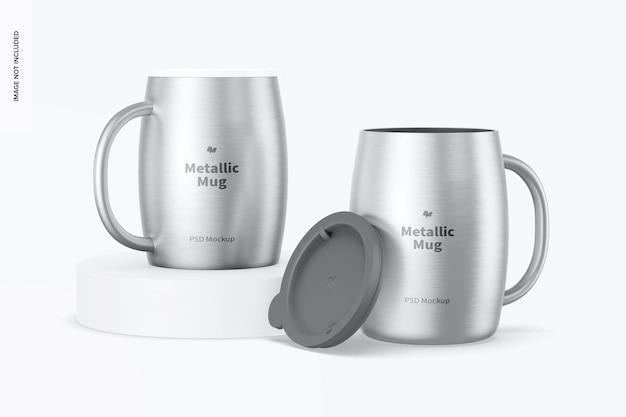 Tasses métalliques avec maquette de couvercle