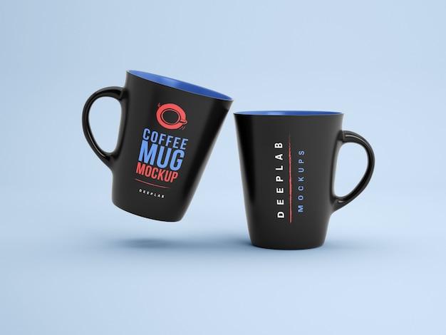 Tasses noires avec maquette modifiable de couleur