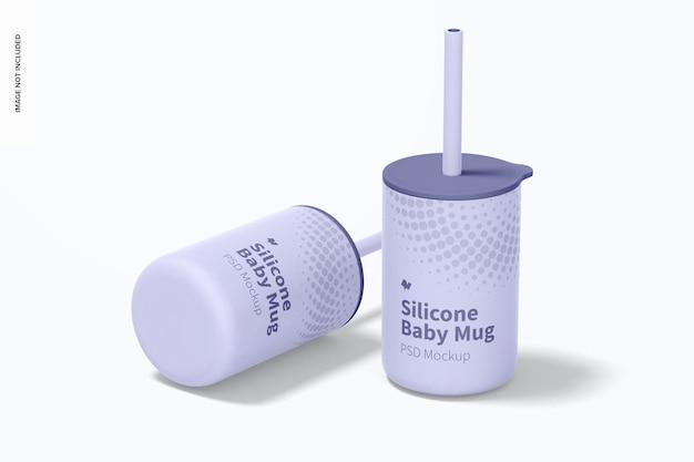 Tasses pour bébé en silicone avec maquette de couvercle, perspective