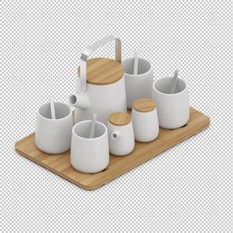 Tasses à thé isométriques sur une planche à découper en bois