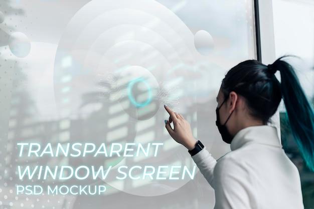 Technologie futuriste psd de maquette d'écran de fenêtre transparente