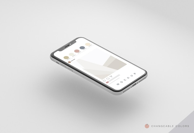 Téléphone 3d isométrique minimal avec maquette d'interface rrss en lévitation
