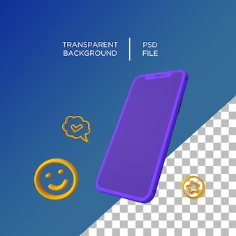 Téléphone 3d plat minimaliste rendu 3d