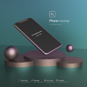 Téléphone flottant dans une maquette d'environnement abstrait