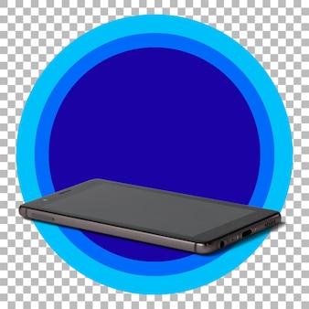 Téléphone intelligent noir sur fond transparent