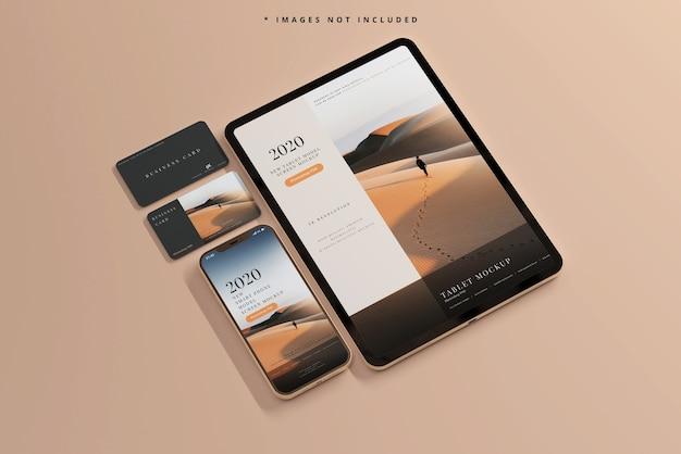 Téléphone intelligent et tablette avec maquettes de cartes de visite