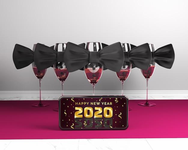 Téléphone avec maquette du message du nouvel an