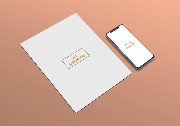 Téléphone et maquette de page a4