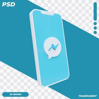 Téléphone mobile 3d avec icône facebook messenger