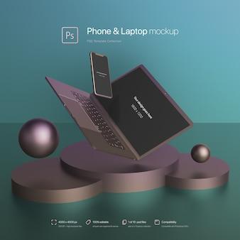 Téléphone et ordinateur portable volant dans une maquette de scène abstraite