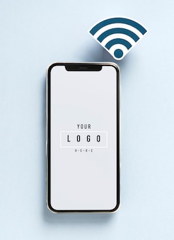 Téléphone portable avec icône wifi