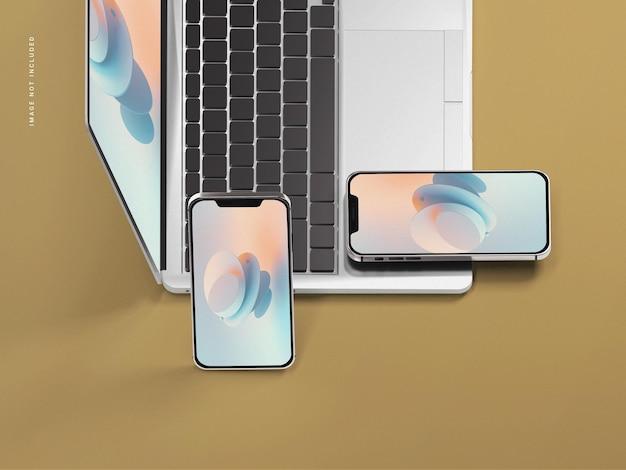 Téléphone portable avec maquette d'ordinateur portable