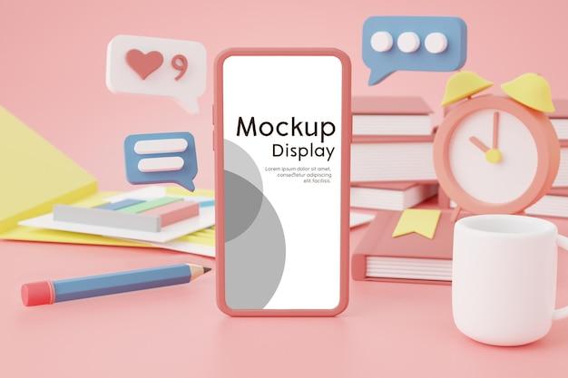 Téléphone portable avec maquette de placement d'écran sur le bureau avec de nombreux objets professionnels