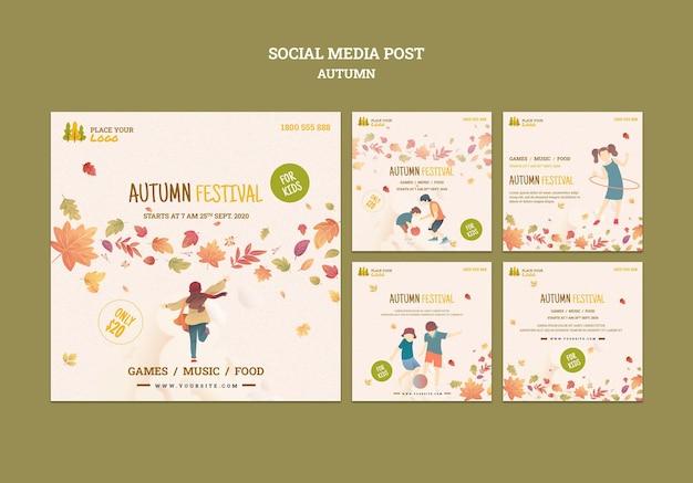 Temps de plaisir au festival d'automne pour les enfants sur les réseaux sociaux
