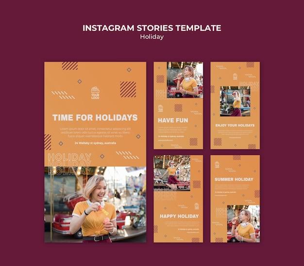 Temps pour les vacances modèle d'histoires instagram