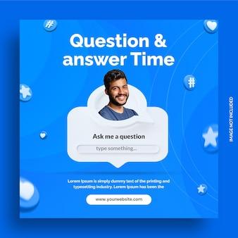 Temps de question et de réponse de concept créatif pour le modèle instagram de publication sur les médias sociaux