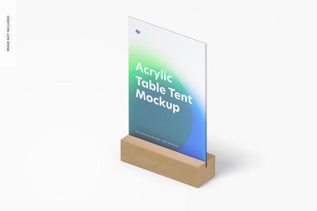 Tente de table en acrylique avec maquette de base en bois, vue de gauche isométrique