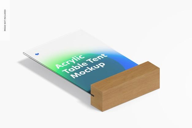 Tente de table en acrylique avec maquette de base en bois, vue isométrique
