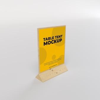 Tente de table en bois vue carrée pour restaurant et publicité