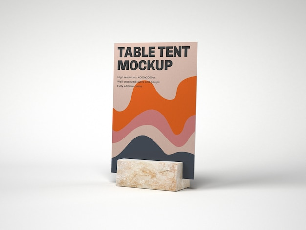 Tente de table avec maquette de support en marbre