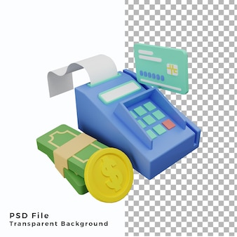 Terminal de paiement par carte de crédit 3d avec illustration de pièce de monnaie de haute qualité