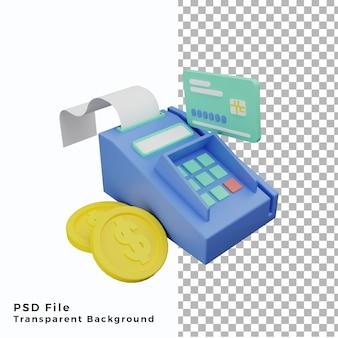 Terminal de paiement par carte de crédit 3d avec illustration de pièces de haute qualité