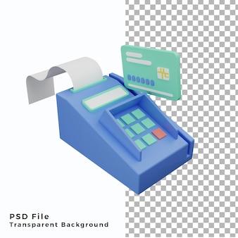 Terminal de paiement par carte de crédit 3d lllustration de haute qualité