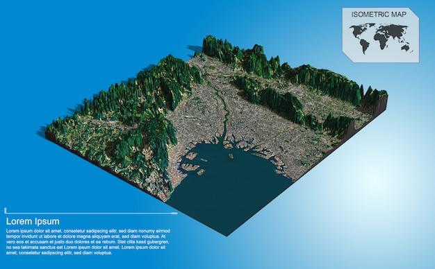 Terrain virtuel isométrique pour infographie