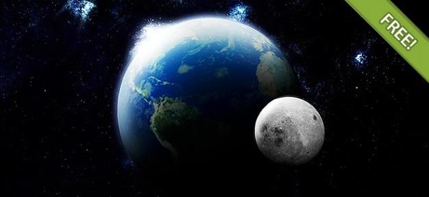 Terre et la lune en 3d pour adobe photoshop
