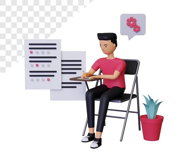 Test d'étude ou d'examen 3d avec personnage masculin
